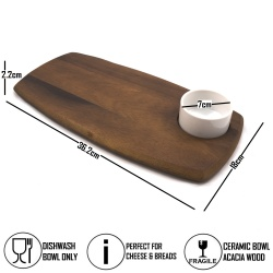 Wooden Serving Board With Dip Bowl - Narrow